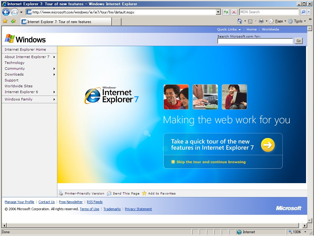 Internet Explorer is the world's most popular Web browser. Security, ease of use, and improvements in RSS, CSS, and Ajax support are Microsoft's priorities for Internet Explorer. This version of IE runs on the 32-bit version of Windows 7.