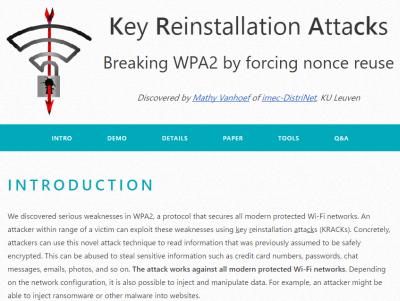 WPA2の脆弱性「KRACKs」、Wi-Fi通信での盗聴や内容の改ざんが可能