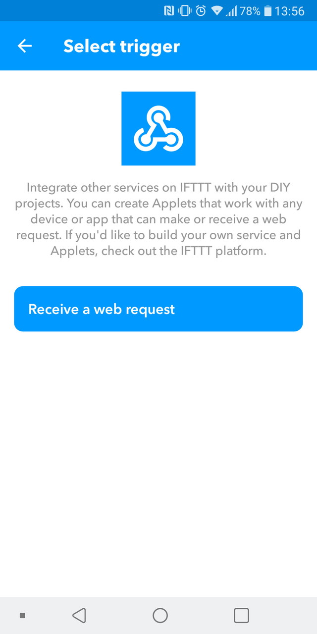 「Receive a web request」をタップ