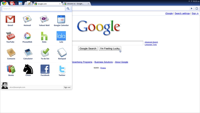 「Google Chrome OS」でメニューを表示した画面