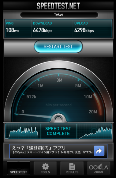 �P��WiMAX�ڑ�����speedtest�̌���